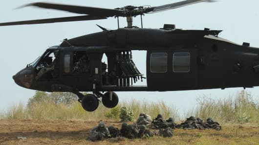 A Sikorsky UH-60 Black Hawk helicopter during a military exercise.