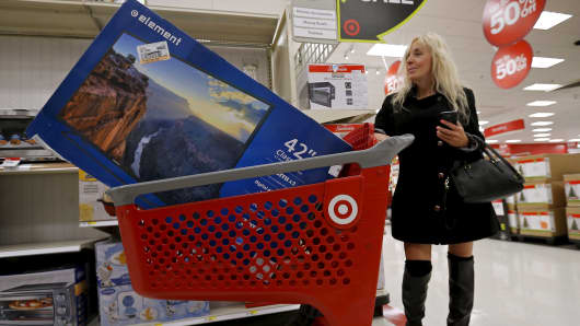 A shopper during Black Friday at a Target store in Chicago.