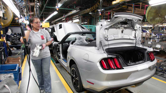 Ford Mustangs on the assembly line at the Ford Flat Rock Assembly Plant in Flat Rock, Michigan.
