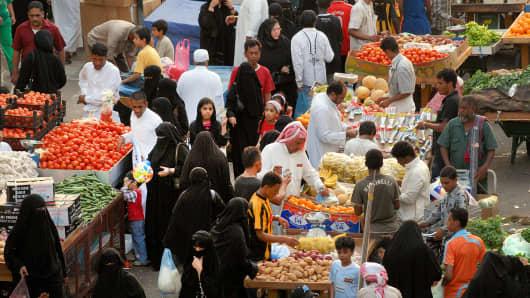 Street scene in Jeddah, Saudi Arabia.