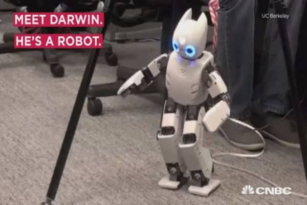 Watch Darwin the robot try to take his first steps