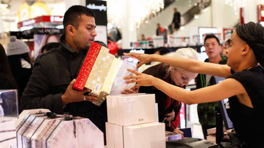 Holiday shoppers at Macy's in New York