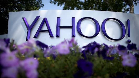 Yahoo signage at their headquarters in Sunnyvale, California.