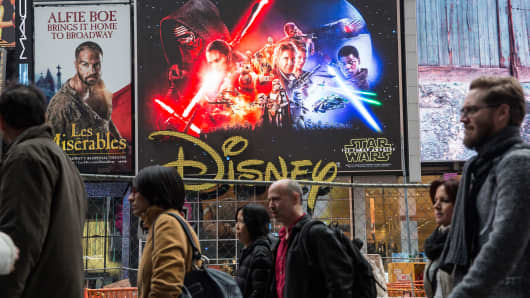 A 'Star Wars: The Force Awakens' advertisement is seen in Times Square on December 11, 2015 in New York City. Disney acquired Lucasfilm studios and the rights to the Star Wars franchise in 2013 for $4 billion.