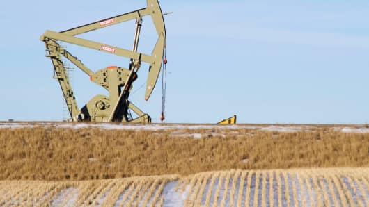 An oil pumpjack operates near Williston, North Dakota.