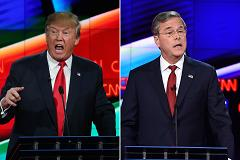 Donald Trump and Jeb Bush speaking during the Republican Presidential Debate, hosted by CNN, at The Venetian Las Vegas on December 15, 2015 in Las Vegas, Nevada.