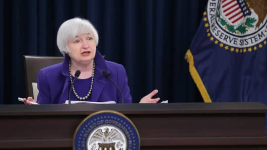 Janet Yellen discusses the Fed's first interest rate hike in 9½ years, Dec. 16, 2015, in Washington.