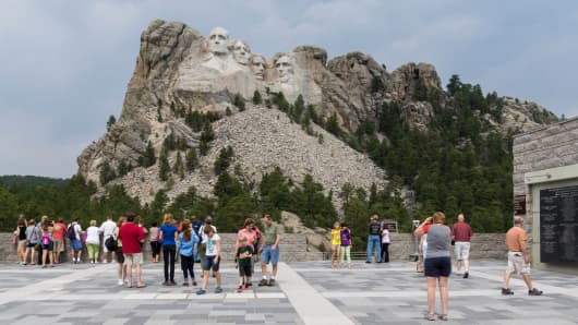 Visitor Center view showing the Mount Rushmore memorial in South Dakota.