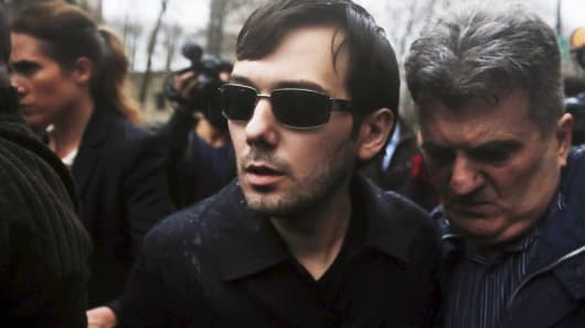 Martin Shkreli departs U.S. Federal Court after an arraignment and his being charged on a federal indictment filed in Brooklyn on Dec. 17, 2015.