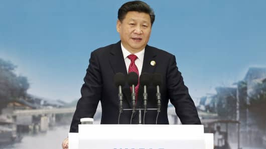 China's President Xi Jinping speaks during the opening ceremony of the 2nd annual World Internet Conference in Jiaxing, China, on Dec. 16, 2015.