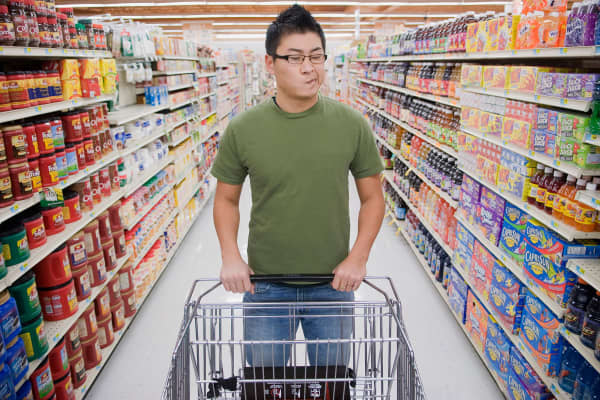 Man confused in grocery store