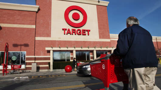 A shopper approaches the Target store in Mount Kisco, New York.