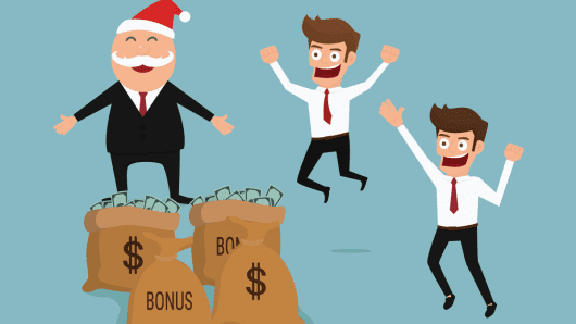Boss giving big bonus. Christmas and new year.