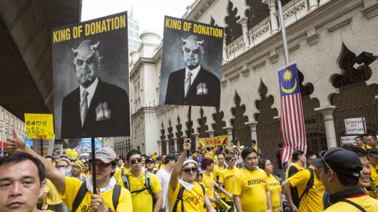 Protesters demanding Prime Minister Najib Razak's resignation during an August rally in Kuala Lumpur.