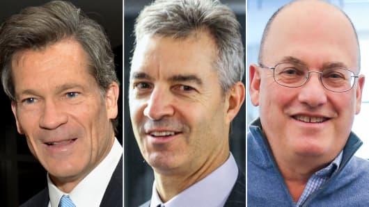 Louis Moore Bacon (L), Daniel Loeb (C) and Steve Cohen (R).