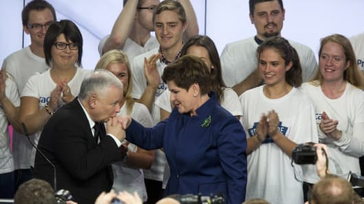 Jaroslaw Kaczynski, leader of the Law and Justice Party, left, greets Polish Prime Minister Beata Szydlo.