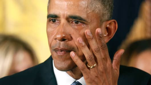 President Obama wipes a tear while announcing steps the administration is taking to reduce gun violence, Jan. 5, 2016.
