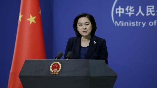 Hua Chunying, spokeswoman of China's Foreign Ministry, speaks at a news conference in Beijing on Wednesday. The Foreign Ministry said that Beijing did not have advance knowledge of North Korea's test of a miniaturized hydrogen nuclear device, adding that it firmly opposed Pyongyang's action.
