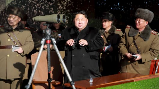 North Korean leader Kim Jong Un watches a firing contest of the KPA artillery units at an undisclosed location in a photo released by North Korea's Korean Central News Agency in Pyongyang on Jan. 5, 2016.