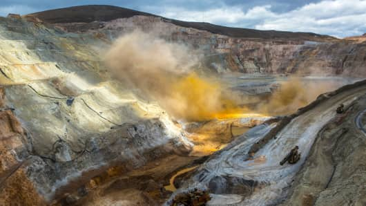 Operations at Newmont Mining's Yanacocha gold mine in Cajamarca, Peru.