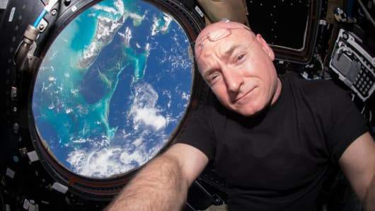Astronaut Scott Kelly on the International Space Station. Kelly has broken the record for most days spent in space as well as the most consecutive days spent in space.