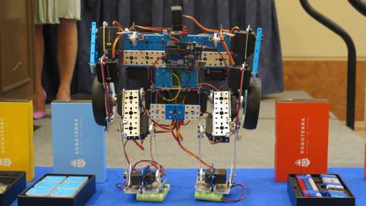 Roboterra robot making kits on display at CES 2016 in Las Vegas.