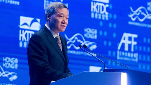 China Securities Regulatory Commission chairman Xiao Gang, pictured at the Asian Financial Forum in Hong Kong on January 19, 2015.