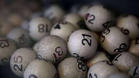 Lottery balls are seen in a box at Kavanagh Liquors on January 12, 2015 in San Lorenzo, California.