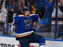 St. Louis Blues Vladimir Tarasenko celebrates after scoring against the Minnesota Wild.