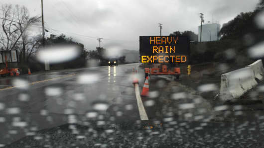 A CalTrans sign in Silverado Canyon as El Nino storms were expected in Southern California last week.