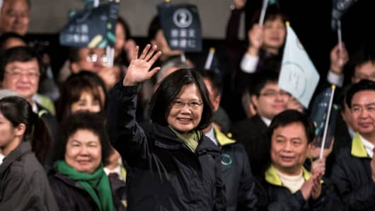 Democratic Progressive Party (DPP) presidential candidate Tsai Ing-wen celebrates after winning presidential elections in Taipei, Taiwan on January 16, 2016.