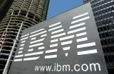 An IBM sign stands outside an IBM building May 10, 2005 in downtown Chicago, Illinois.