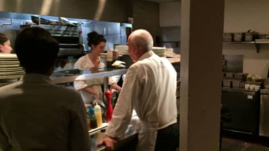 Owner-Chef Zack Bruell directs his staff at Cleveland's L'Albatros