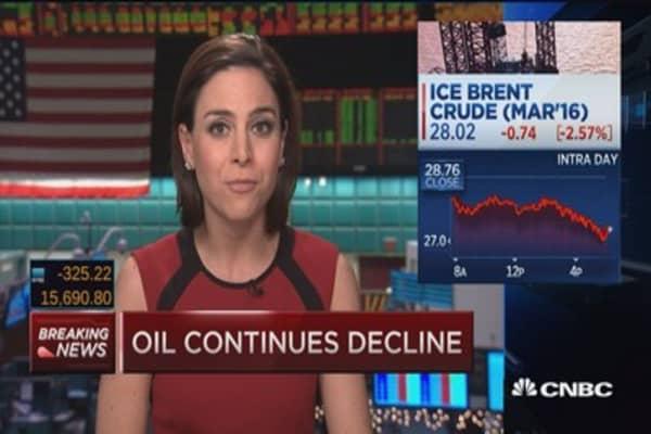 Crude dips below $27