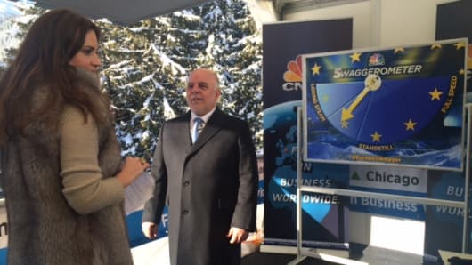 Haider Al-Abadi on set in Davos, Switzerland with Hadley Gamble.