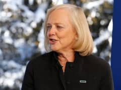 Meg Whitman being interviewed in Davos, Switzerland, January 21, 2016.