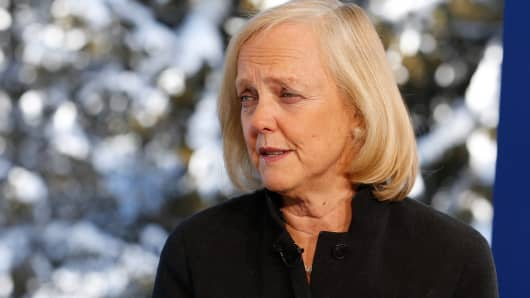 Meg Whitman, Chairman and CEO of Hewlett-Packard at the 2016 World Economic Forum in Davos, Switzerland.