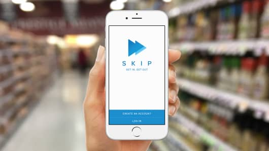The Skip app allows shoppers to scan items as they go.