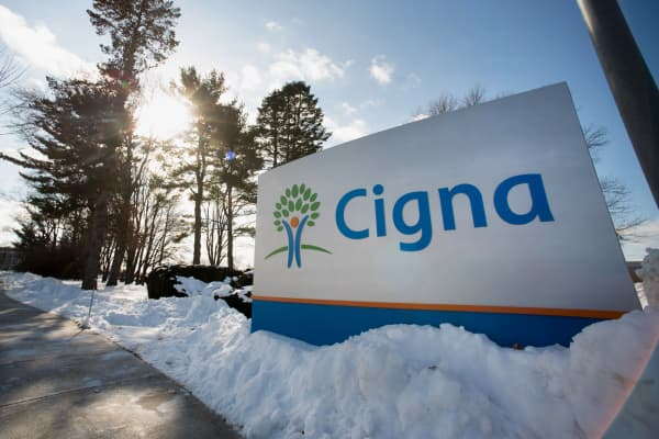 Cigna signage displayed at the company's headquarters in Bloomfield, Connecticut.