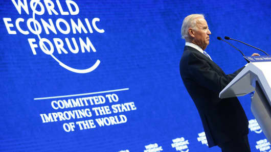Vice President Joe Biden addresses attendees during the annual meeting of the World Economic Forum in Davos, Switzerland , on Jan. 20, 2016.