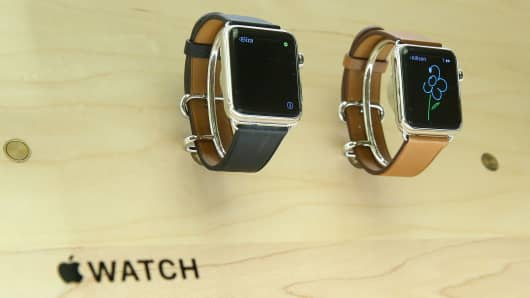 Apple watches are displayed in the Apple Store on 14th street in Manhattan, New York.