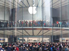 Customers walk in a new-opened Apple Store as Nanjing opens second Apple Store on January 16, 2016 in Nanjing, Jiangsu Province of China. Apple Inc. has opened three Apple Store in new year 2016 which made its 31st Apple Store finished opening in China mai
