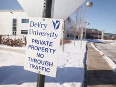 A sign on DeVry's Chicago campus.