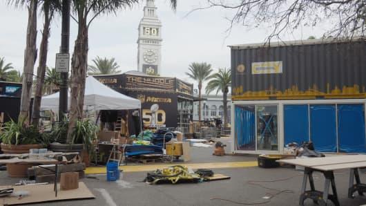 Super Bowl 50 preparations are under way in Santa Clara, California.