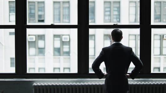 Business man near window