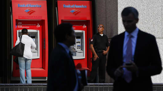 Bank of America Corp. ATMs outside of the Bank of America Plaza tower in Los Angeles, California.