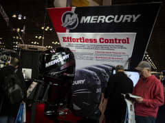 Mercury boat engines sit on display at the New York Boat Show inside the Jacob Javits Convention Center in New York, U.S., on Friday, Jan. 8, 2016.