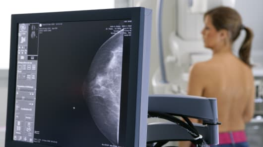 A woman undergoes a mammogram exam.