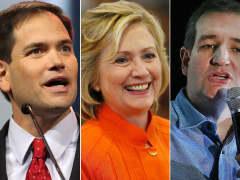 Marco Rubio, Hillary Clinton, Ted Cruz
