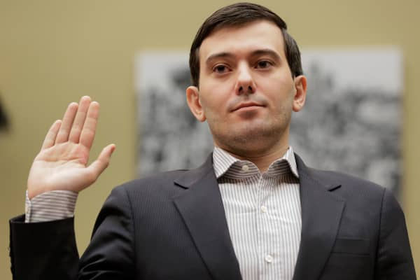 "Martin Shkreli, former CEO of Turing Pharmaceuticals LLC, is sworn in before a House Oversight and Government Reform hearing on ""Developments in the Prescription Drug Market Oversight"" on Capitol Hill in Washington February 4, 2016."